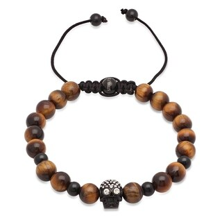 Steeltime Men's Tiger Eye Beaded Drawstring Bracelet with Stainless Steel Skull and Cubic Zirconia in 2 Colors