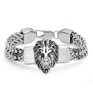 Steeltime Men's Stainless Steel Lion Head Box Chain Bracelet in 2 Colors