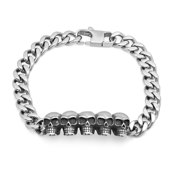 Steeltime Men X27 S Stainless Steel Skull Bracelet