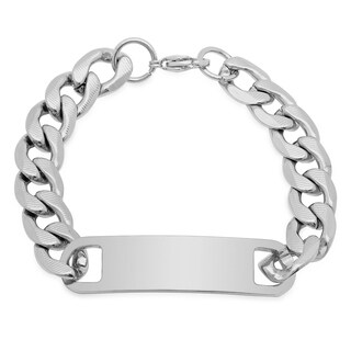 Steeltime Men's Stainless Steel Accented Curb Chain Link ID Bracelet in 2 Colors