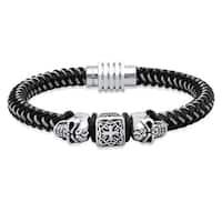 Steeltime Men's Stainless Steel and Black IP Braided Cord Bracelet