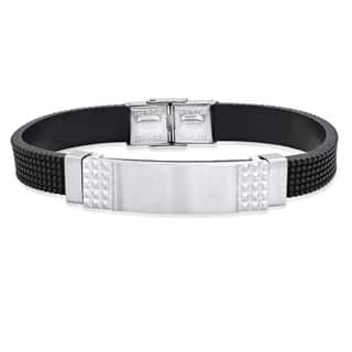 Steeltime Men's Black Leather Bracelet with Stainless Steel Studded ID Accent|https://ak1.ostkcdn.com/images/products/18540746/P24647149.jpg?impolicy=medium