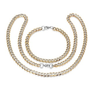Steeltime Men's Two-Tone Stainless Steel Cuban Chain Link Bracelet and Necklace Set
