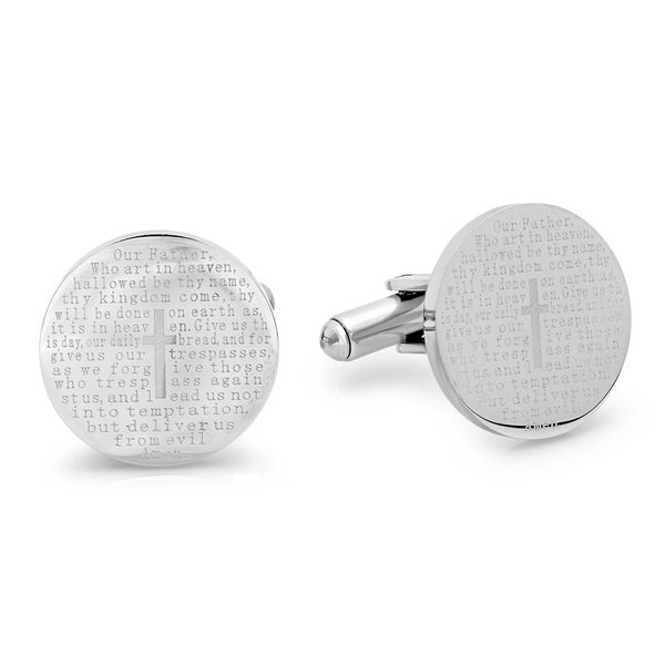 Steeltime Men's Stainless Steel Lord's Prayer Round Cufflinks