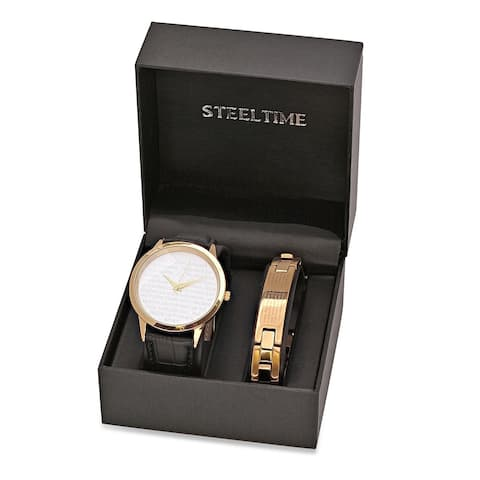 "Steeltime Men's Gold Tone Alloy ""Our Father"" Prayer Watch with Matching Stainless Steel Link Bracelet"