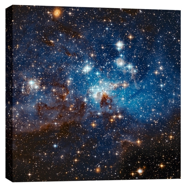 """Epic Graffiti """"LH 95 Star Cluster"""" Hubble Space Telescope Giclee Canvas Wall Art, 12"""" x 12"""""""