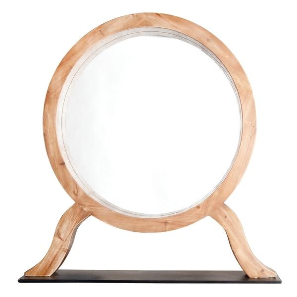 Alden Décor Round Wood Table Mirror On Stand   Brown/Black