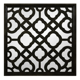 Black Wood Lattice Mirror
