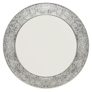 Glam Silver/Black Metal Round Mirror