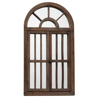 Dark Brown Wooden Window Mirror