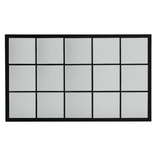 9a3ce6eafd65 Shop Large Rectangle Metal Grid Mirror with Paned Beveled Glass - Black -  Free Shipping Today - Overstock - 18540870
