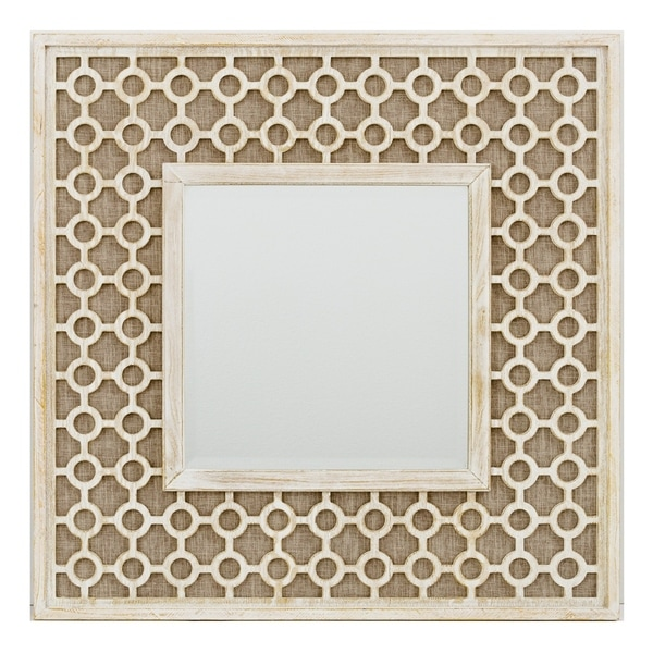 Lattice Scroll Wooden Mirror - Off-White