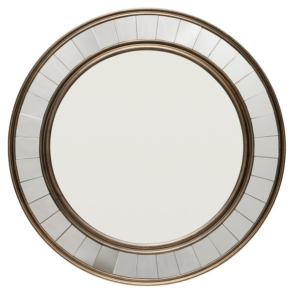 Round Wood Mirror with Trim - Antique Bronze