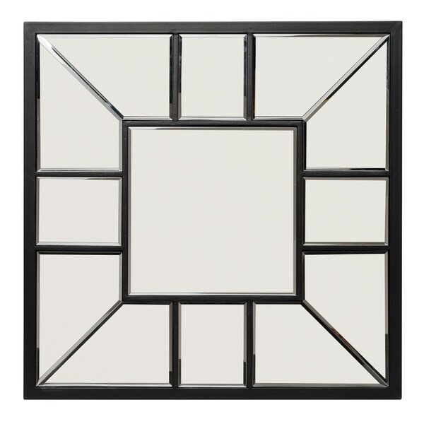Black Metal Square Grid Wall Mirror
