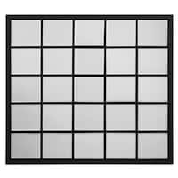 Rectangular Black Metal Grid Mirror with Paned Beveled Glass