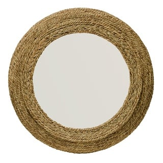 Alden Décor Seagrass Round Mirror - Brown