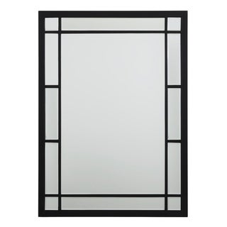 Black Metal Beveled Glass 18-inch Wall Mirror