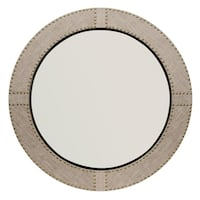Grey Linen Studded Round Mirror
