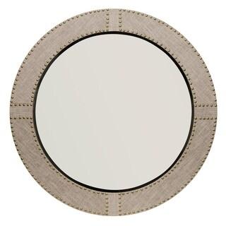 Alden Décor Cait Linen Round Mirror - Grey