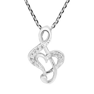 Love of Music Treble Clef Heart Sparkling Sterling Silver Necklace