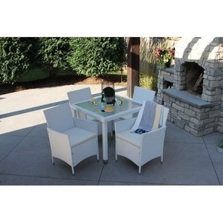 5pc Outdoor White Wicker Patio Dining Set (recu0027d Square)