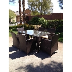 7pc Outdoor Brown Wicker Patio Dining Set Std Rectangle