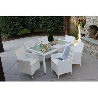 7pc Outdoor White Wicker Dining Set W/Storage Cover (std Rectangle)