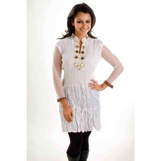 Off White crushed crepe Kurti / Tunic with golden neckline - Large
