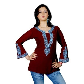 Dark brown long sleeves Kurti/Tunic with heavy embroidery (2 options available)