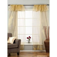 Golden Rod Pocket w/ attached Beaded Valance Sheer Tissue Curtains - Piece - 43 x 84 inches (109 x 213 cms)