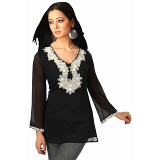 Black long sleeves Kurti/Tunic with designer bead work