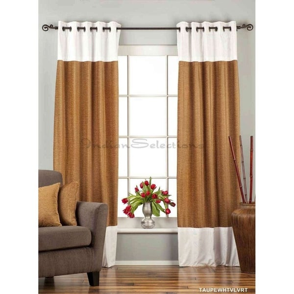 signature taupe and white ring top velvet curtain panel piece