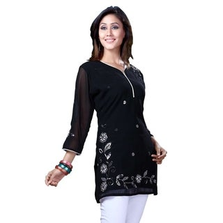 Black Georgette 3/4 sleeves Kurti/Tunic with white thread embroidery (3 options available)