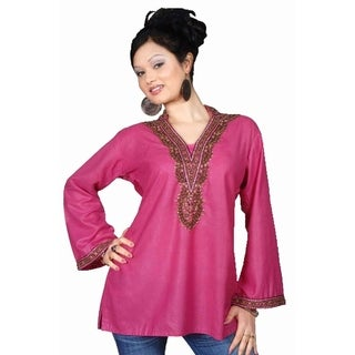 Pink long sleeves Kurti/Tunic with beads and stone work (3 options available)