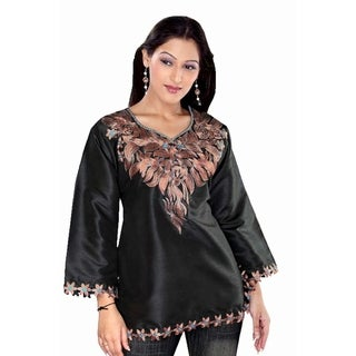 Black long sleeves Art silk Kurti/Tunic/Caftan with embroidered neckline