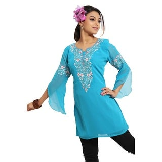 Blue 3/4 sleeves Kurti/Tunic with designer embroidery