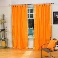 Pumpkin  Tab Top  Sheer Sari Curtain / Drape / Panel  - Pair