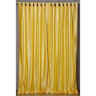 Yellow Tab Top Velvet Curtain Drape Panel