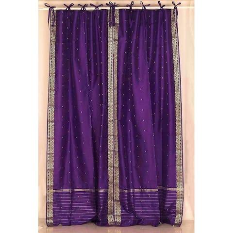 Handmade Purple Tie Top Sheer Sari Curtain, Set of 2 (India)