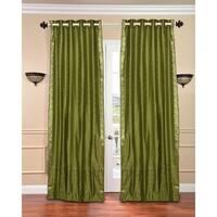 Olive Green Ring Top  Sheer Sari Curtain / Drape / Panel  - Piece