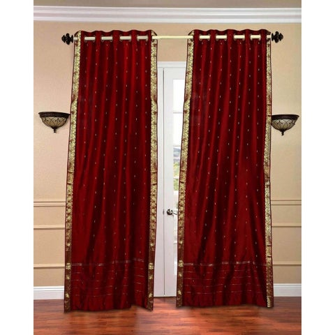 Maroon Ring Top Sheer Sari Curtain / Drape / Panel - Piece