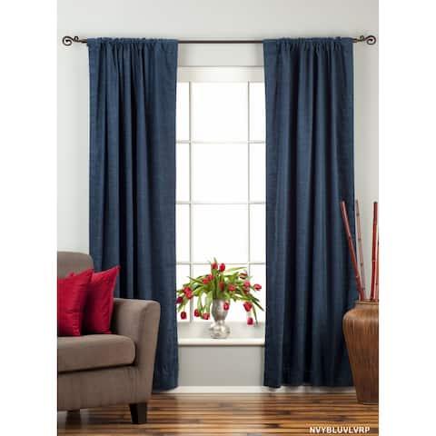 Handmade Navy Blue Rod Pocket Velvet Curtain Piece (India)
