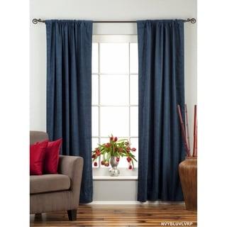 navy blue rod pocket velvet curtain drape panel piece