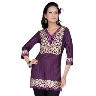 Purple 3/4 sleeves Kurti/Tunic with designer embroidery (3 options available)