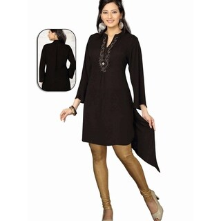 Black 3/4 Sleeves designer Kurti / Tunic (India) with beaded neckline