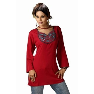 Red Poly Crepe embroidered Indian Tunic Kurti