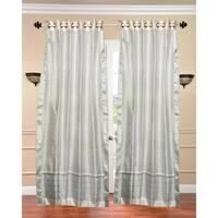 White with Silver trim Ring Top  Sheer Sari Curtain / Drape / Panel  - Piece