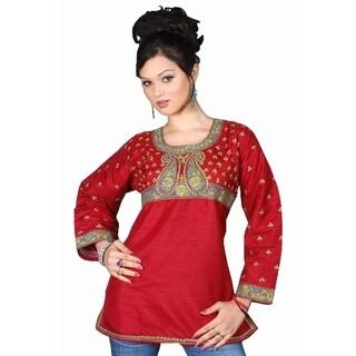 Art Silk Maroon Red long sleeves Kurti/Tunic