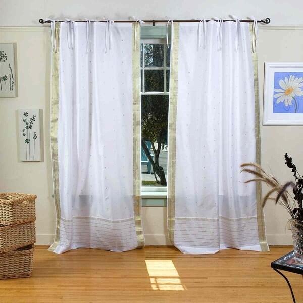White with Gold Tie Top Sheer Sari Curtain / Drape / Panel - Pair