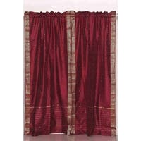 Maroon Rod Pocket  Sheer Sari Curtain / Drape / Panel  - Pair